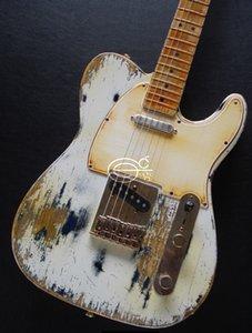 Promotion! Heavy Relic White Over Black Tele Electric Guitar Maple Neck & Fretboard, Tremolo Bridge, Vintage Tuners