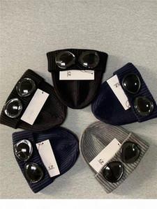 CP COMPANY deux verres lunettes tuques hommes automne hiver tricotée épais calottes de tuques de chapeaux de sport en plein air femmes gris noir
