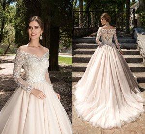 2021STESTIOS de Novia A-Line Свадебные платья свадебные платья V-образным вырезом Кружевные аппликации с длинными рукавами Сад Элегантная кнопка Свадебные платья с помощью спины