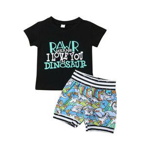 Venta caliente patrón de dinosaurio ropa para niños niño bebé niño verano manga corta carta patrón Tops camiseta + Shorts impresos 6M-4T