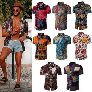 Hawaiian Holiday style hommes à manches courtes Floral Chemisier Haut d'été en vrac Homme Imprimé Casual Shirt Chemise de plage Taille L-5XL