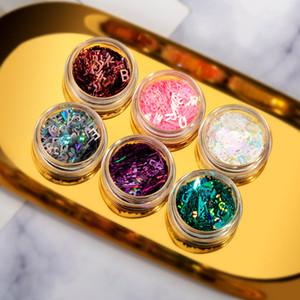 2020 Блестки для ногтей наклейки лето цветной лазерный Письмо Art Nail наклейки DIY Декоративные аксессуары для вспышек