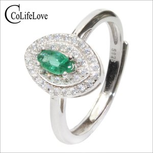 CoLife Jewelry Classic Emerald Ring para mujer 3 mm * 6 mm Natural SI Grade Emerald Silver Ring 925 Silver Emerald Jewelry