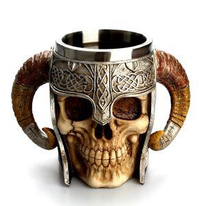 Tasse de café 3D de frappe Guerrier Viking Tankard crâne double mur Halloween Coupes Creative Accueil en acier inoxydable tasses d'eau