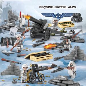 WW2 La Seconde Guerre mondiale Bataille Alpes neige Decisive Camouflage militaire Solider Mini Toy Figure Brick Block Building Pour Boy