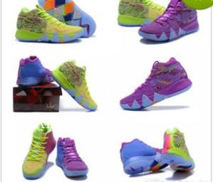 4s Kyrie IV Chanceux Charms Hommes Chaussures De Basketball Top Qualité Irving 4 Confetti Couleur Vert Designer Baskets Baskets Livraison Gratuite Taille 40-46