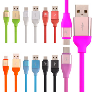 2A Hızlı Şarj Mikro Tip C USB Veri Kablosu Alaşım TPE Cep Telefonu Veri Kablosu Veri Sync Kabloları Samsung S6 S7 S8 Huawei HTC 1 M 3ft 30 cm
