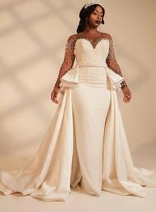 مذهلة اللؤلؤ مصمم فساتين الزفاف الأفريقي أثواب الزفاف فستان طويل الأكمام مطرز الساتان ألف خط قطار المحكمة زائد الحجم