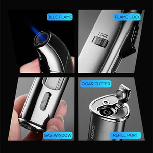 Jobon Cigar Jet Lighter Windproof Stright Flame Refillable Lighters Cigar Cutter Fuel Visible Fashion Gift
