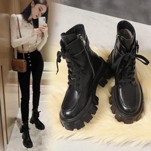 مقاتل من الجيش FORENJOY أحذية نسائية ربط الحذاء حتى القوطية الأسود سوك منصة أحذية جلدية الكاحل أحذية للنساء