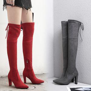 c27 zapatos de cuero BORRUICE partido atractivo de 2019 mujeres de moda ante de los talones de la rodilla Estiramiento Flock invierno botas altas botas