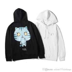 Erkekler ve Kadınlar Sonbahar Moda Marka Hoodie kazak TKY tarzı Karikatür kedi Baskı deseni hip hop streetwear Dış Giyim DOUBLET
