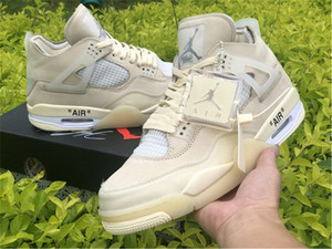 2020 newest Nike air jordan retro off white 4 SP WMNS Sail Men 4s offwhite Basketball Shoes 4s x Muslin White Black Mens outdoor Sports Shoes