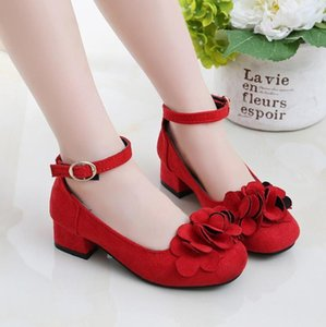 Kids Leather Shoes Girls Wedding Dress Shoes Children Princess Flower Leather Sandals For Girls Casual Dance Flat Sandals