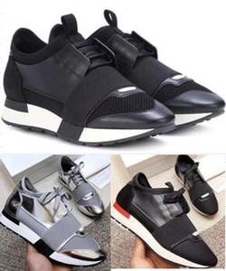 موضة رياضة الرجال النساء أحذية عارضة جلد طبيعي مش سباق أحذية عداء وأشار في الهواء الطلق المدربين مع صندوق حجم كبير 35-47
