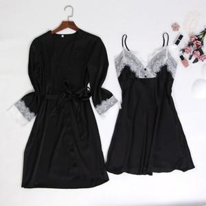 2020 Women's Silk Satin Two-Piece Pajamas Sets Ice Silk Sexy Lace Nightgown Sleepwear (5 Colors)