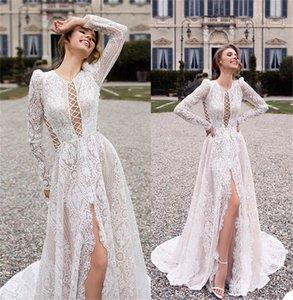 Vintage Boho A Line Wedding Dresses Sexy High-split Hollow Full Appliqued Lace Wedding Gown Long Sleeves Beach Custom Made Vestidos De Novia