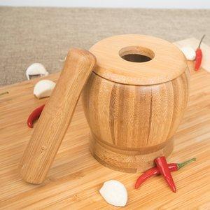New pilão Grinding Bowl Set bambu Almofariz E Pilão Pedestal Bacia Garlic Pot Spice Pepper Mill Ferramentas Ferramentas de cozinha