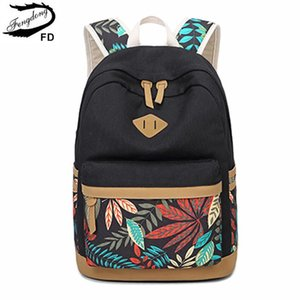 FengDong vintage leaf print canvas school backpack for children school bags for girls child book bag women laptop backpack 14 Y200706