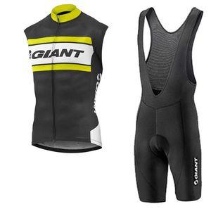 Giant Team Cycling Sans Sans Jersey Gilet Gilet Brotte Court Set Hommes Été Summer Vêtements Sec Vêtements Maillot Ciclismo U71034