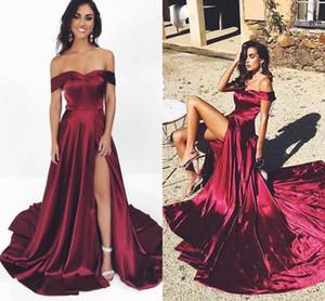 2020 BARATO Burgundy A Linha Vestidos mangas ver através Saia Sexy Frente divisão lado fiesta Dresses Prom cortada ombro
