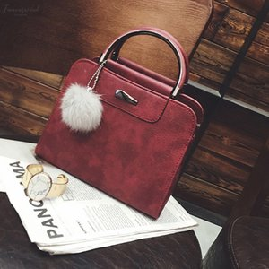 Adiputent Fashion Women Pu Leather Handbag Stereotypes Package Shoulder Message Bag Casual Tote Bag With Fur 2020 Mujer New