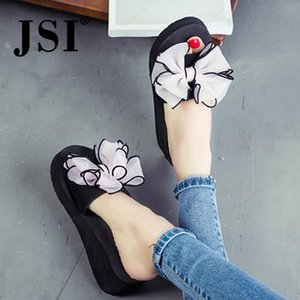 JSI Slidders Woman Summer Sweet Style Butterfly- Knot Outer Slippers Lady Flower Chunky Outsole And Platform Slippers T29