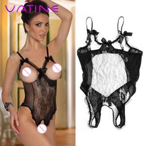 Vatine Exotic Underwear Vestuário Sexy Lace Floral Vestido Sex Sexy Lingerie Abra virilha e peito Backless Sex Toys para as Mulheres