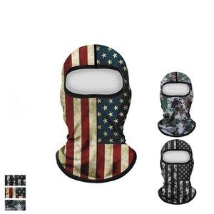 Amerikan Bayrağı Baskı Yüz Toz geçirmez Windproof Güneş kremi Kapşonlu Kamuflaj Bisiklet Yeniden Yıkanabilir Maskeler CCA12144 30pcs Maskesi