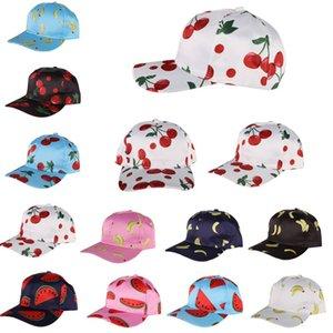 Summer Fruits Pattern Baseball Hat Cherry Printing Sun Cap Girl Fashion Hip hop Hats Mercerized cloth Cartoon Outdoor sport hat T9I00216