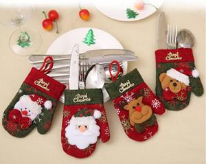 Mais baratos Luvas desktop de Natal Decoração de Natal Stocking Bolsas Faqueiro faca Fork Titular Papai Noel Gift Bag Artigos para Festas