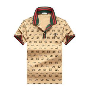 2020 Летняя Брендовая Одежда Роскошные Дизайнерские Рубашки Поло Мужчины Повседневная Поло Мода Змея Пчела Печать Вышивка Футболка High Street Mens Polos