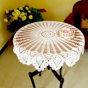 1Pcs 80cm Küche Esszimmer Restaurant Crochet Round Cotton Tischdecke Mat Dekor Dekorative Tischdecke Tafelkleed