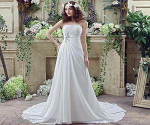2020 elegante vestidos brancos Ruffle Querida A noiva da festa de casamento longo Linha Chiffon vestidos para as mulheres casamento Vestidos