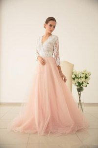 2020 Beach Wedding Dresses A Line V Neck 3 4 Long Sleeve Sweep Train Bridal Gowns With With Lace Tulle Backlee Wedding Gowns
