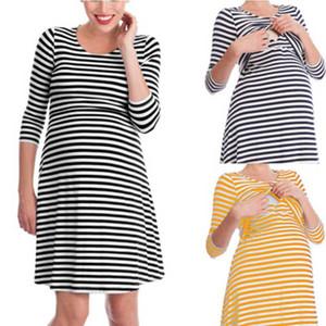 Vestido de maternidade em amamentação Vestido de maternidade Pijama Mulher grávida Em torno do pescoço Sete manga de trimestre Saia de comprimento médio 57