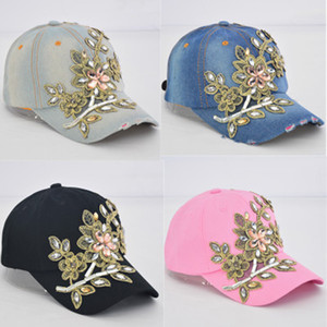 Women's Baseball Cap Diamond Painting Embroidery Flower Denim Snapback Hats Jeans Woman Female Cap Cowboy Summer Sun stone Hat