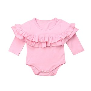 Newborn Baby Boy Girls Clothes Autumn Ruffles Long Sleeve Rompers Jumpsuit Candy Color Rompers Baby Infant Cotton Home Clothing