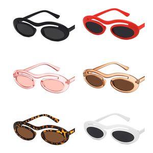 Moda mujer hombres personalidad solo haz gafas de sol Oval gafas de sol Anti-UV gafas Hip Hop gafas Adumbral A + +