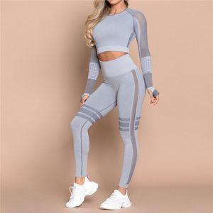 Women slim Yoga Set Seamless Tights Exercise Yoga Pants Gym Set High Waist Leggings Pants Sports Clothing Fitness Shirt