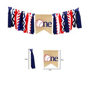 Спорт Бейсбол Тематическая Вечеринка Баннер Льняные Ткани Буквы One Pull Флаг Декоративные Баннеры Для Детей На День Рождения Поставки 13yq E1