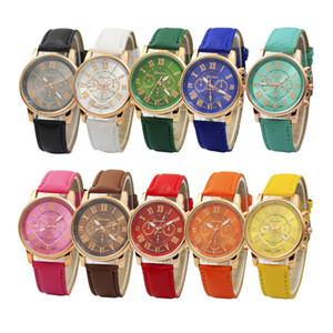 Роскошные Женевские часы Римский номер часы Наручные кожаные красочные унисекс кварцевые наручные часы для мужчин женщин