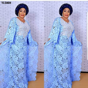 فساتين سوبر حجم الأفريقية للنساء Dashiki بوبو الأزياء المياه القابلة للذوبان الدانتيل تنورة فضفاضة مطرز تطريز ثوب طويل أفريقيا