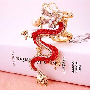 Estilo Chinês criativa Zodiac artesanato chave pingente corrente de metal do dragão do diamante chaveiro dos homens