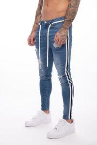 4 cores Mens Designer Jeans fita flâmulas Belt Side Stripe Slim Fit New Pencil Pants S-XXXL