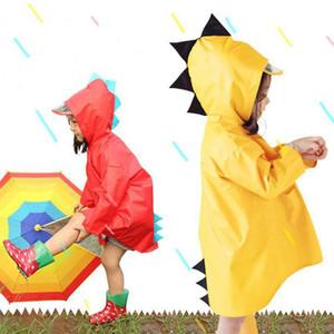الفتيان الفتيات المحمولة يندبروف ماء لبس المعطف الاطفال لطيف ديناصور شكل مقنعين الأطفال الأصفر الأحمر معاطف DH0752