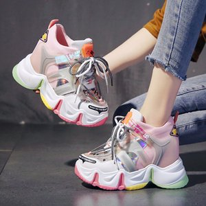 El aumento del talón interno de la moda de las mujeres mezcladas tacones color de la malla de encaje hasta el Super High punta redonda zapatos de plataforma transpirable A27 informal