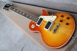 Miel Nueva Sunburst cuerpo 1960 guitarra eléctrica del estilo con la llama de chapa de arce, golpeador leche, puente fijo, amarillo embutido, se puede personalizar