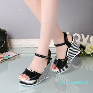 Women wedge sandals sexy peep toe platform 10cm high heels sandals fashion buckle rhinestone party shoes black white l15