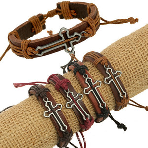 Pelle bovina genuina degli ornamenti del braccialetto Religione scava fuori Croce Gift Factory Generation consegnare le merci